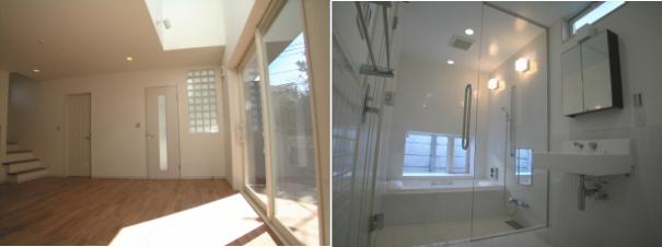 ホテルチックなガラス張りの浴室と吹き抜け+テラスのリビング