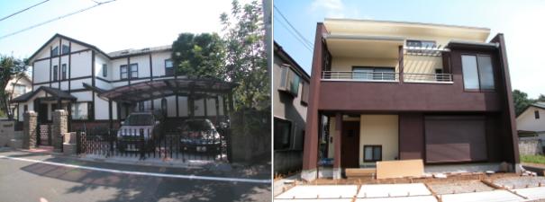 店舗併用の洋風住宅と茶室がある自然素材の家